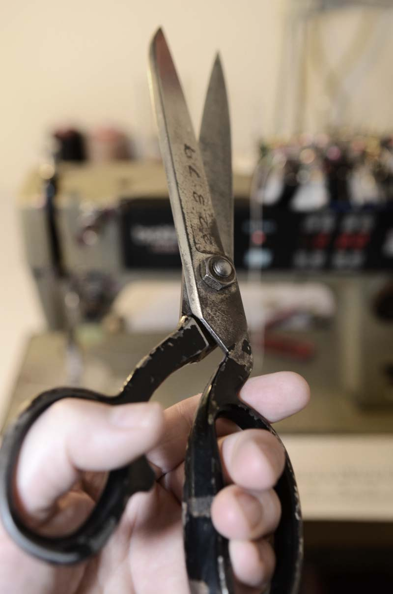 Tailors scissors used for clothing alterations